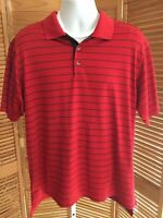 Adidas Golf ClimaCool Red w/ Black Stripe Tennis Golf Mens Polo Shirt sz Large