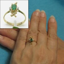 14k Solid Yellow Gold Genuine & Natural Diamond & Oval Emerald Ring TPJ