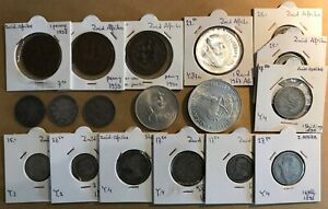 SOUTH AFRICA - LOT OF 18 COINS MOSTLY ZAR and SILVER