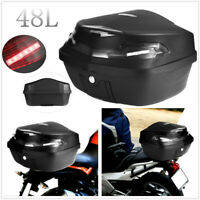 Universal 48L Motorcycle Rear Trunk Box Storage Luggage Case + Tail Light AU