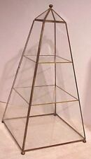 """VINTAGE SMALL 18"""" PYRAMID OBELISK BRASS & GLASS MINIATURES DISPLAY CABINET CASE"""