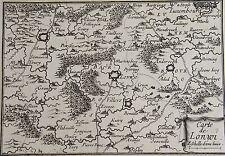 Carte de LONWI. Gravure originale fin 17 ème. Dimensions de la gravure: 105 mm X