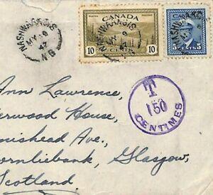 CANADA *Nashwaaksis NB* Underpaid TAXE 150c Airmail 1947 Glasgow {samwells}DD221