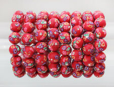 Wholesale 8pcs 12mm CZ FIMO Polymer Clay Red Bead Girl's Stretch Bracelets New