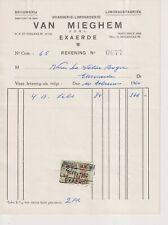 Oude Factuur Brouwerij Limonadefabriek Van Mieghem Eksaarde 1960 Brasserie