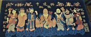 "Fine & Rare CHINESE ART DECO Wool Rug  TAO IMMORTALS  48"" x 25""  c. 1920 antique"
