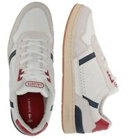 Lacoste Men Shoes T - Clip 120 White Bavy Red Leather Casual Sneakers NEW