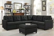 Contemporary 7pcs Black Sectional Sofa Microsuede Reversible Chaise with Ottoman