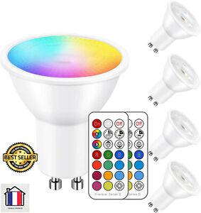 4 Ampoule Led MR16 GU10 RGB Spot Culot Changement Couleur Dimmable+ Télécommande