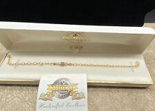 """NIB 10k Pink Rosebud W/Green Leaves Black Hills Gold-Stamper 8 1/4"""" Bracelet"""