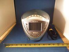 Sony Cd clock radio dream machine Icf-Cd853V Wheather/Fm/Am Purple & Silver Liv