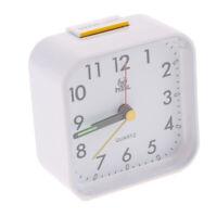 Small Quartz Analog Travel Alarm Clock with Snooze and Night Light-White