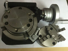 HV4 (110 MM) HORIZONTAL VERTICAL ROTARY TABLE + 80 MM 3 JAWS CHUCK+BACK PLATE