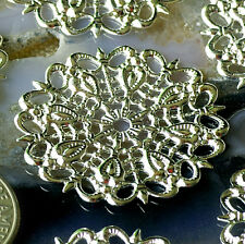 25mm Silver Plated Round Filigree Embellishment Wrap Charm Finding bp23s (4pcs)