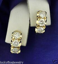 3 Stone 1.50 ct 14k Solid Yellow Gold Natural Diamond Earring Hoop Huggie