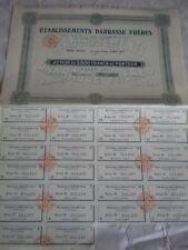Vintage share certificate Stock Bonds action Etablissements darrasse Freres