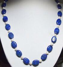 24'' 13x18mm Natural Blue Lapis Lazuli &freshwater Pearl Beads Necklace