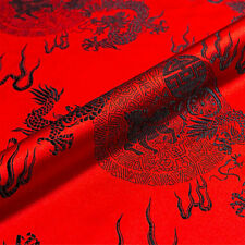Chinese Brocade Fabric Dragon Design Costume DIY Silky Satin Retro 1M Cloth Home
