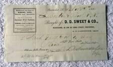 1865 BILLHEAD D D SWEET CO PAWTUCKET RHODE ISLAND WINDOWS DOORS #B5