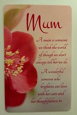 'Mum' Keepsake card New with envelope, A great gift for Mothers day