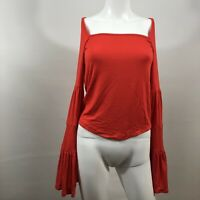Free People Babetown Bell Sleeve Top in Red Lotus Square Neck Size Medium $68