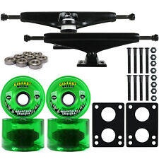 LONGBOARD Trucks/Wheels/Bearings BLACK 7.0 + BIGFOOT 76MM CRUISERS GREEN