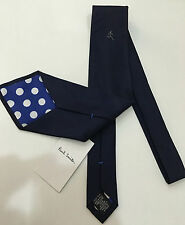 Paul Smith NAVY BLUE TIE Sporting Athlete / Runner 100% SILK 9cm Made in Italy