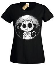 Zombie Cat Mujer Camiseta Rock Gótico Burton Halloween Gatito Undead Chaqueta