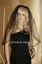"Wedding Veil Elbow Black White Ivory Single Tier 28"" Length Satin Organza Ribbon"