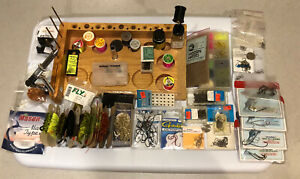 Oasis Fly Tying Bench Accessories, Hooks, Materials, Thread, Eyes, Vintage New!
