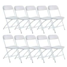 White Set of 10 Commercial Plastic Folding Chairs Stackable Wedding Picnic Party
