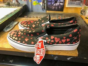Vans Classic Slip On Valentines Hearts Black Red  Size US 8.5 Men (10 Women) New