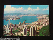old HK postcard,HK island,the harbour & in the distance,Kowloon Peninsula16.3.81