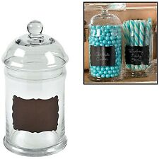 "Chalkboard Candy Jar (5"" x 3 1/2"" diam.) Glass."