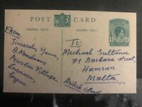 1952 Cyprus Postal Stationary Postcard Cover To Malta Never Postmarked