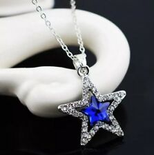 Ladies Blue & White Crystal Star Pendant In Statement Chain Necklace + Gift Bag