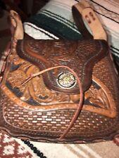 Vintage  Purse Genuine Hand Tooled Brown Leather Shoulder Custom Made!