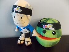"""Fruit Ninja 9"""" Plush Sensei & Watermelon Plush Fruit GUC"""