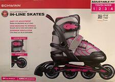 Schwinn Adjustable Fit Inline Skates Girl's Youth Size 1-4 Pink/Gray/Black ~New~