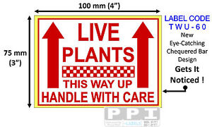 Red LIVE PLANTS This Way Up Labels Stickers Garden Centre Floral 100x75mm TWU-60