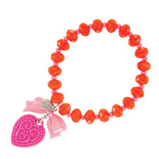 Tarina Tarantino Macaron Heart Charm Bracelet Pink & Orange ~Made in California~