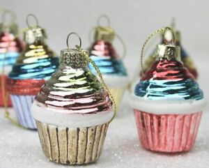 GISELA GRAHAM CHRISTMAS PAINTED MINI GLASS CUPCAKE DECORATION BAUBLE X 6