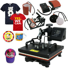 5 in 1 Heat Press Machine Transfer Sublimation Cap T-Shirt Hat Printing 12