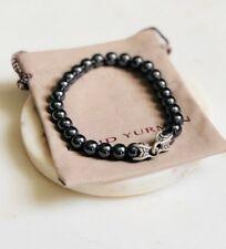 "David Yurman Spiritual Bead Men's Bracelet with Shiny Hematite M 8.5"" Authentic"