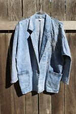 Jean Jacket by Unknown beaded Floral Faded Blue Front Pockets, Women's Size M