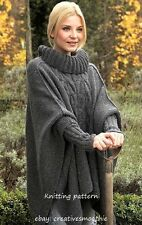 (3) Knitting Pattern for Womans Aran Cable Poncho with Cuffs