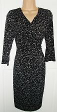 Jersey dress Size 12 black print fixed wrap bodice lined Brand New