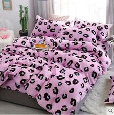 4PCS Leopard-print Pink Cotton Bedding Set Duvet Quilt Cover+Sheet+Pillow Cases