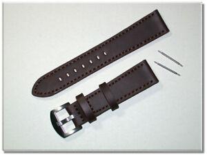 echt Rindsleder Uhrenarmband D-Braun matt mit Naht 20mm breit Edelstahlsch. 9770