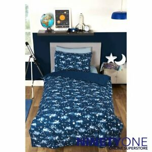 Galaxy Glow In The Dark Single Duvet Cover Bedding Set Supersoft Space Planet